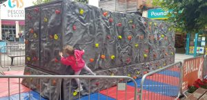 Mobile Bouldering wall supplied for school event entertainment wiltshire