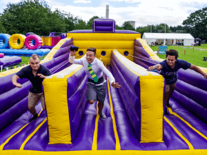 3 lane Bungee run activity for corporate family fun days and school events
